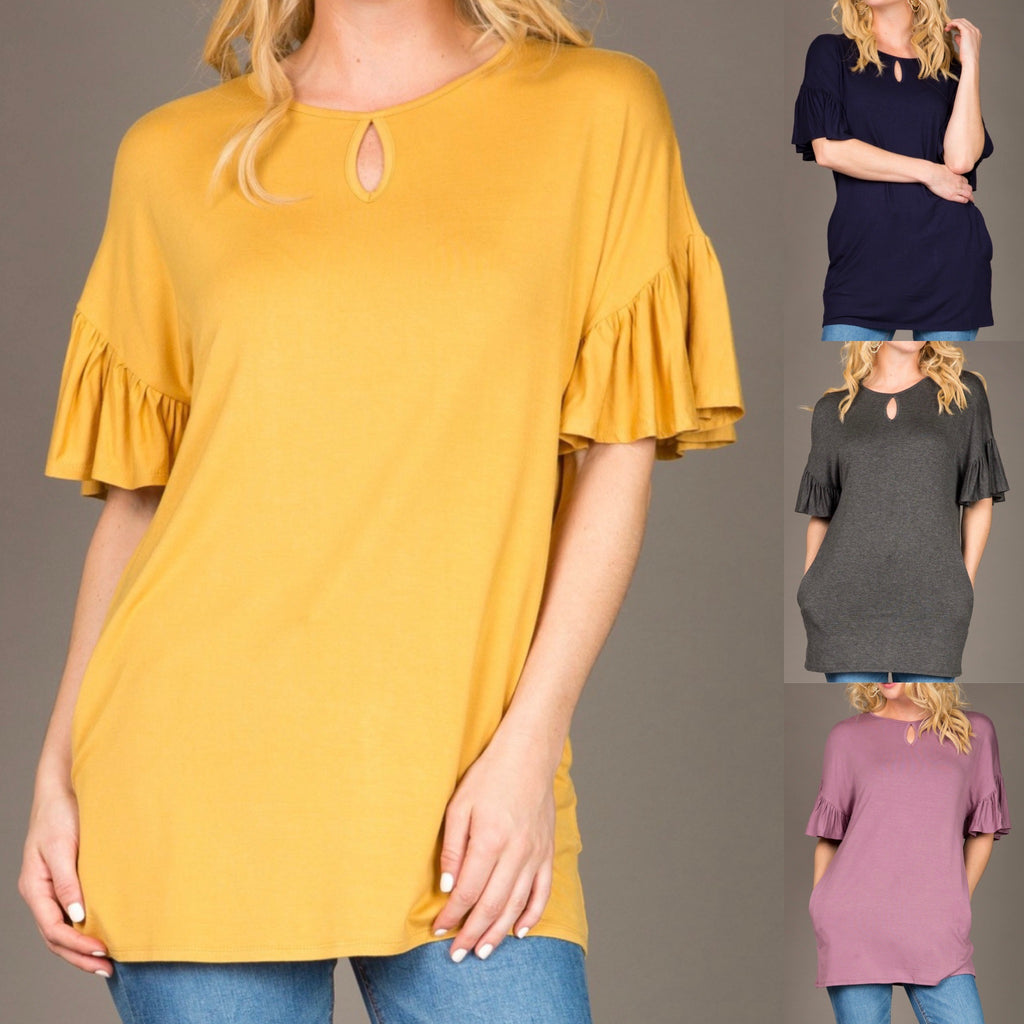 Ruffle Sleeve Basic Tunic