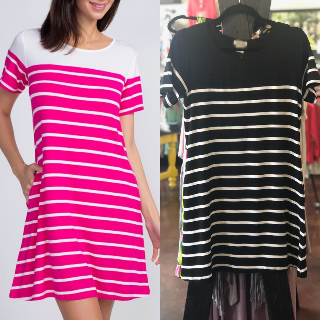 Striped Dress with Solid Neckline