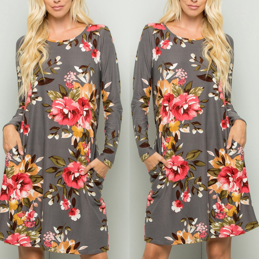 Gray Floral Swing Dress