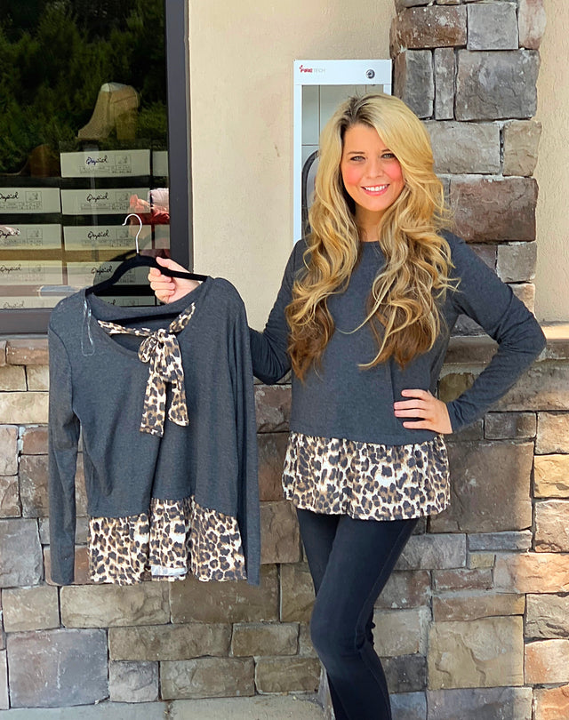 Leopard Ruffle Hem Top with Back Tie