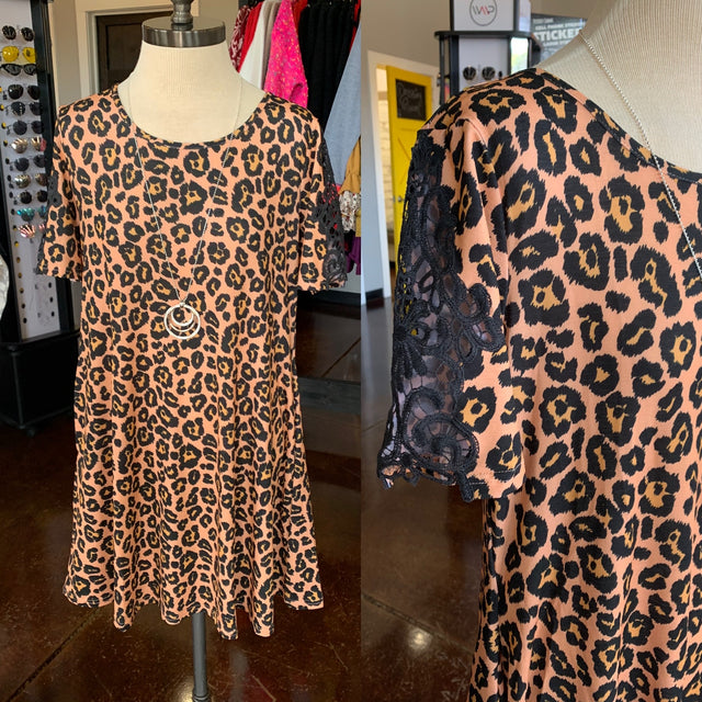 Simply Southern Leopard Dress with Lace Sleeves