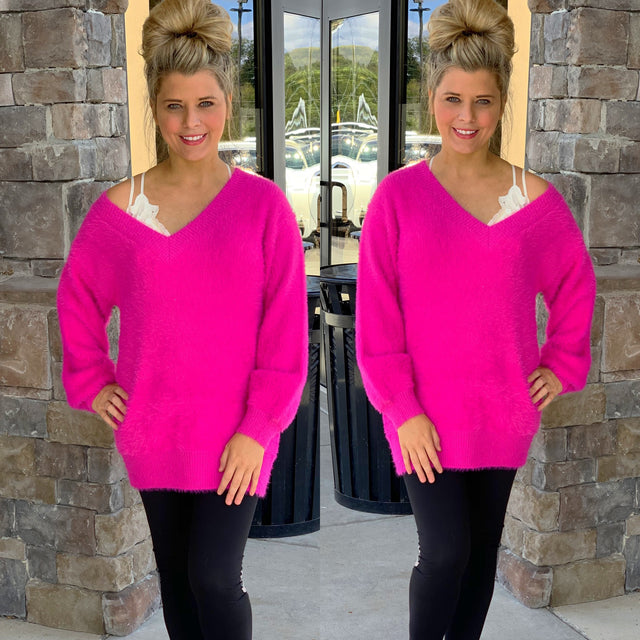 Soft Fuzzy Hot Pink Sweater