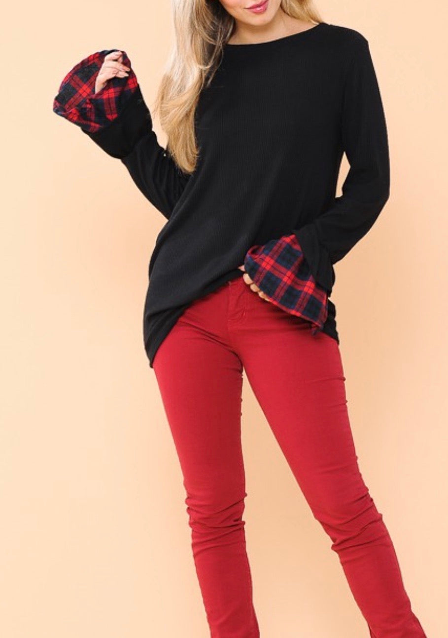 Tunic Top with Plaid Contrast Bell Sleeves