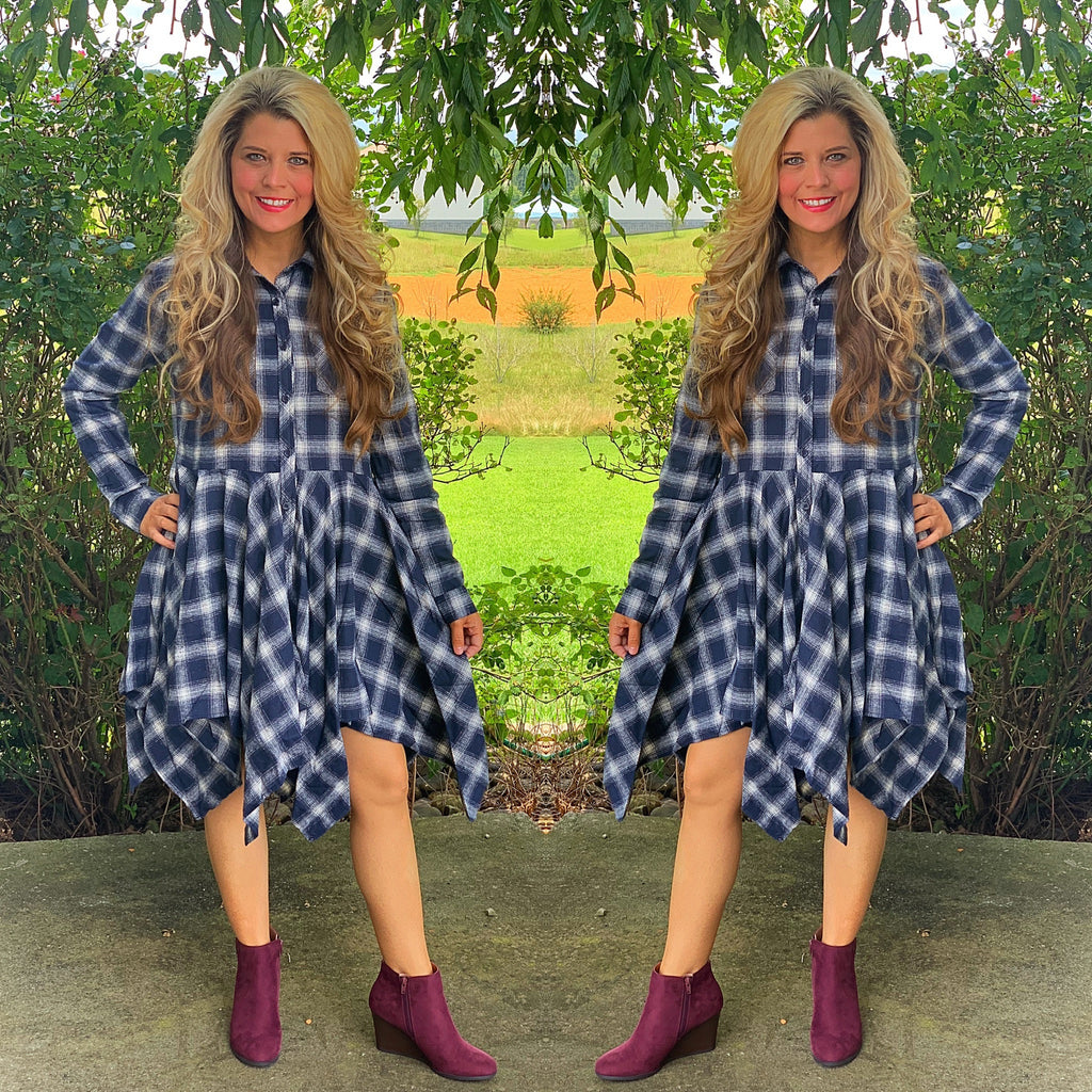 Plaid Front Ruffle Hem Dress