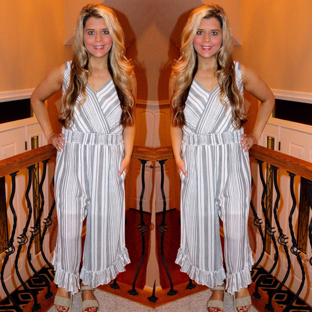 Striped Surplice Jumpsuit with Lining