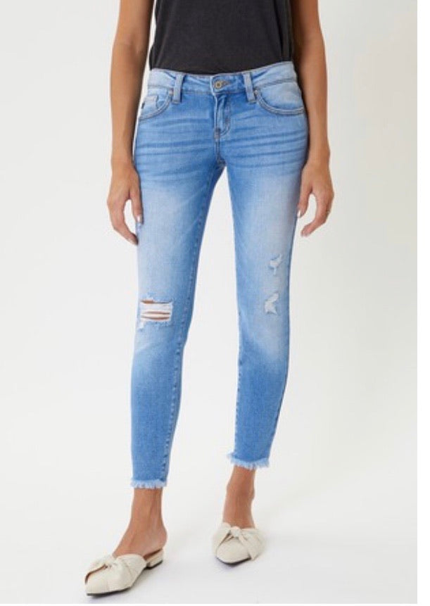 Kan Can Light Denim Frayed Hem Jeans