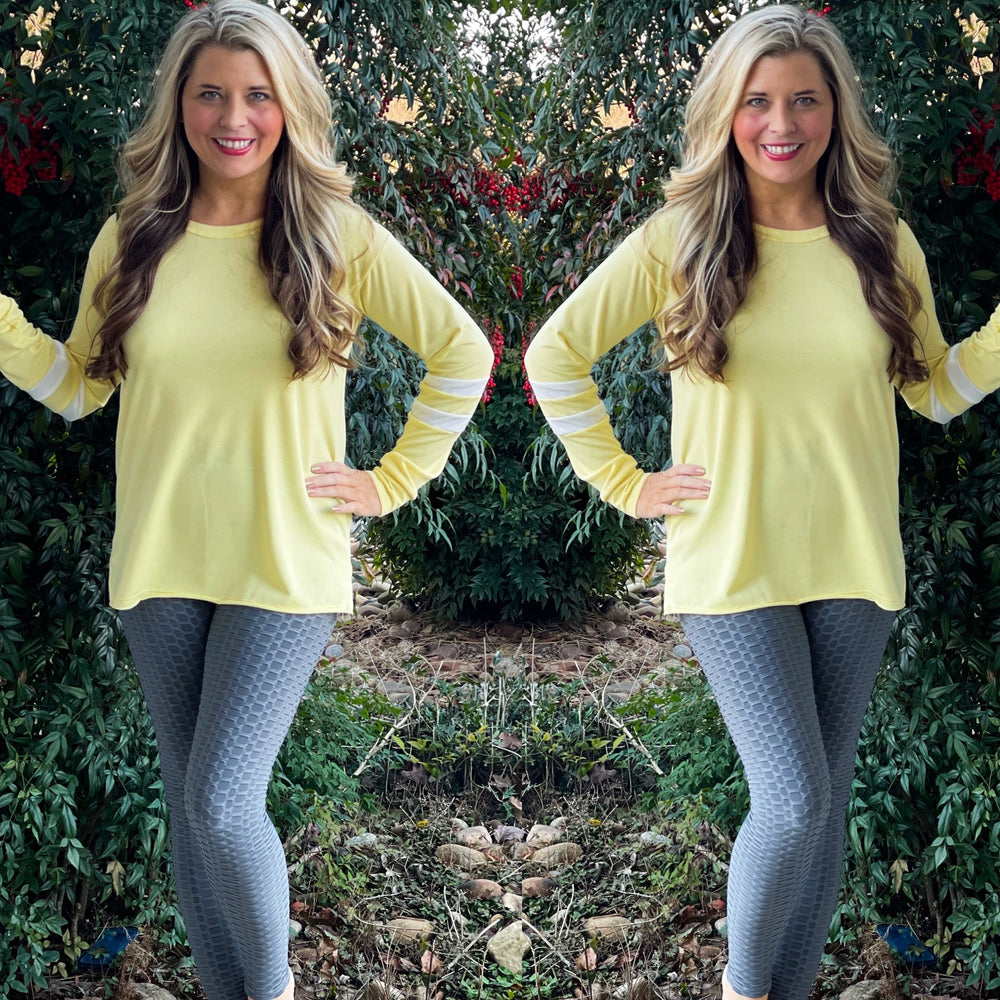 Yellow Top with Striped Detail Sleeves