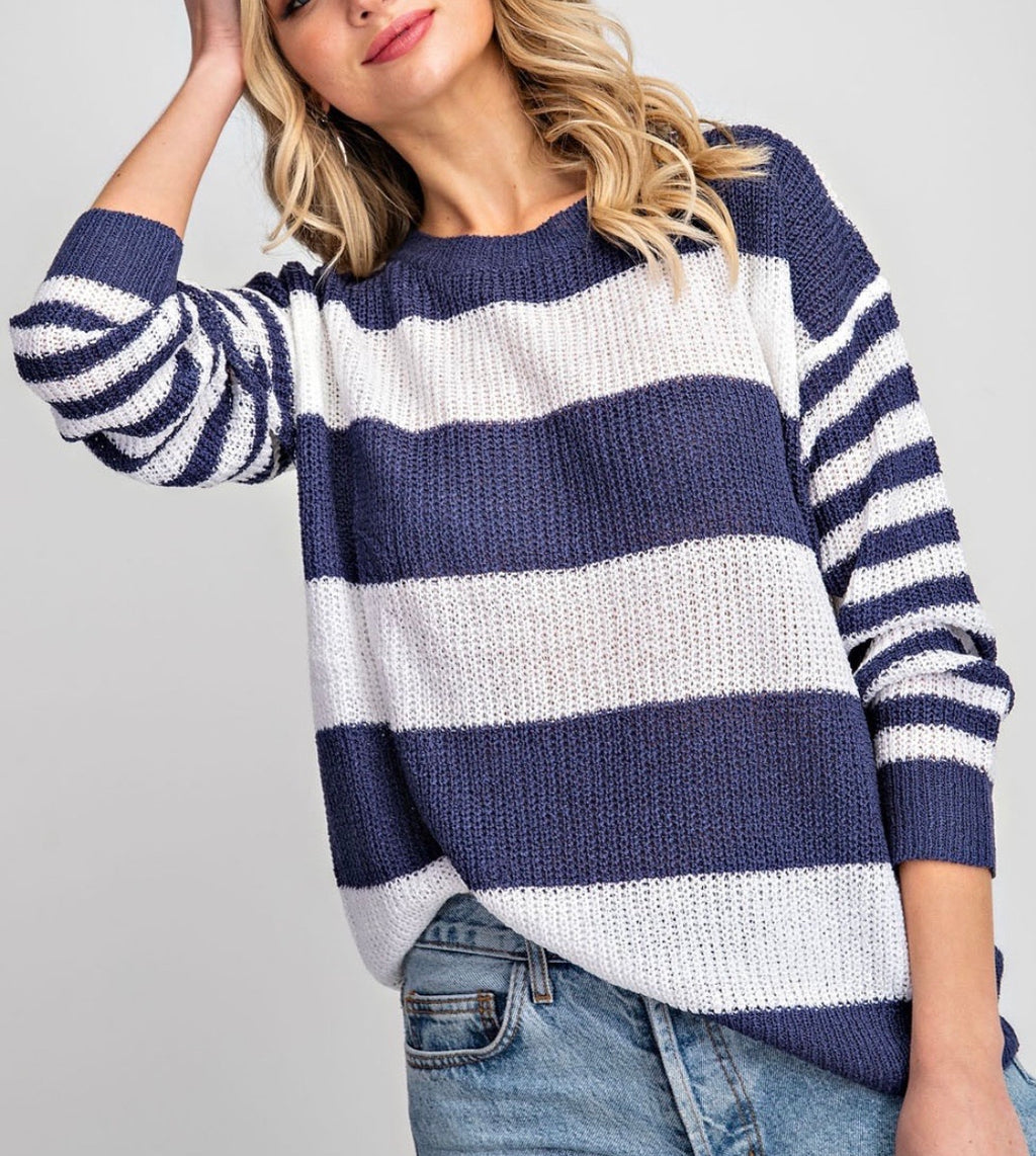 Navy Striped Lightweight Sweater