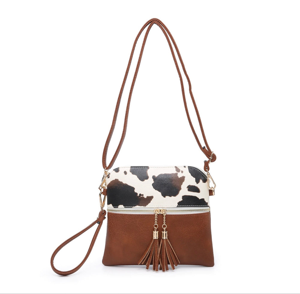 Two Tone Crossbody/Wristlet with Tassel