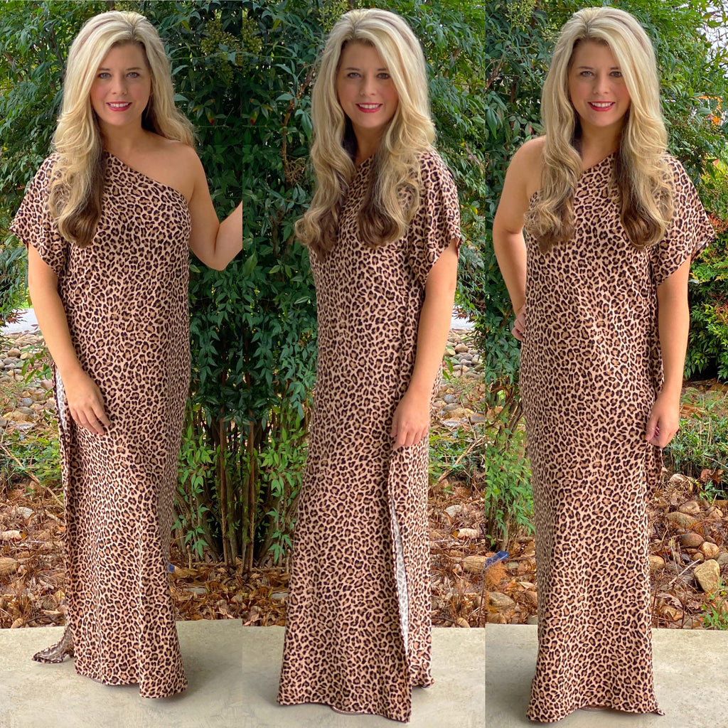 Cheetah One Shoulder Maxi Dress