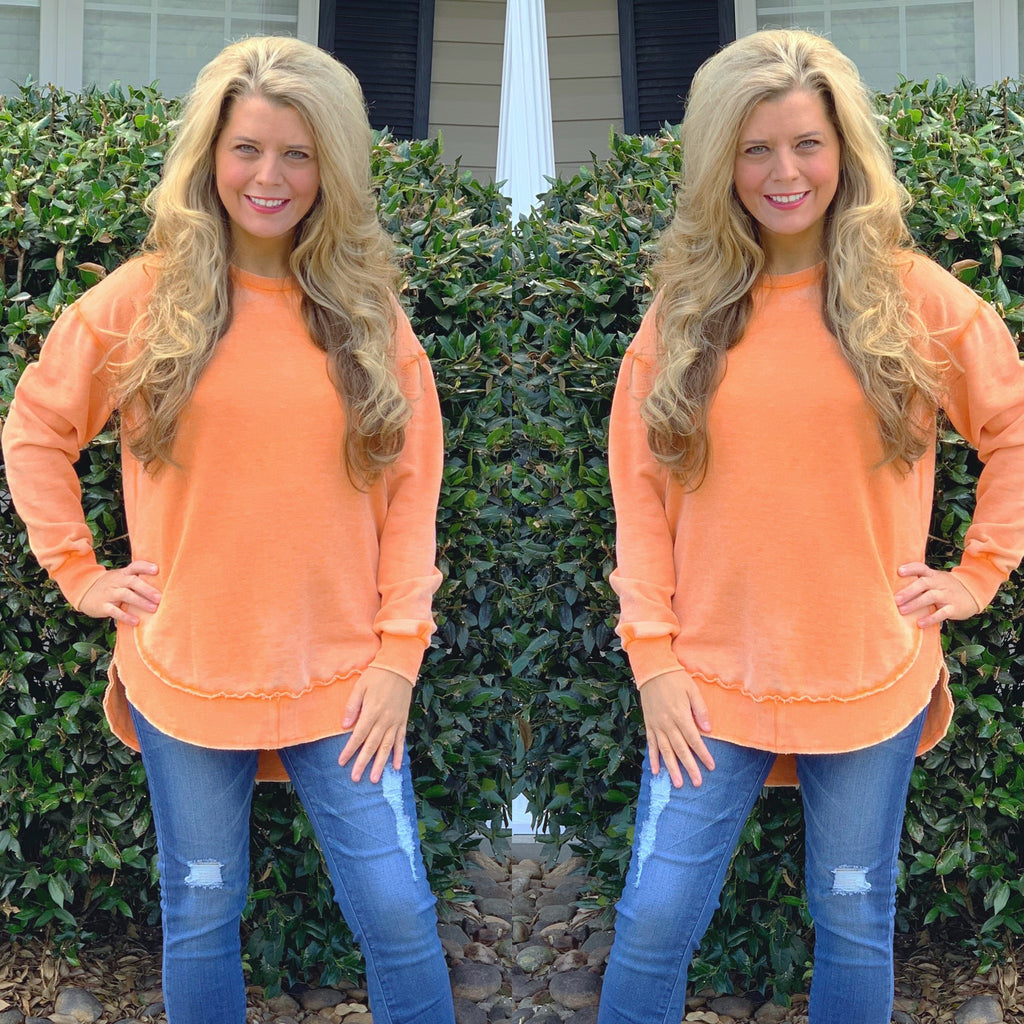 Orange Burn Wash Fleece Sweatshirt
