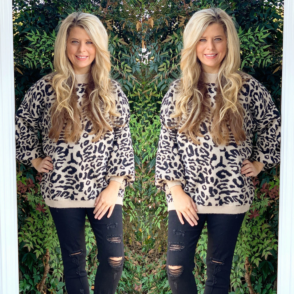 One Size Leopard Print Sweater