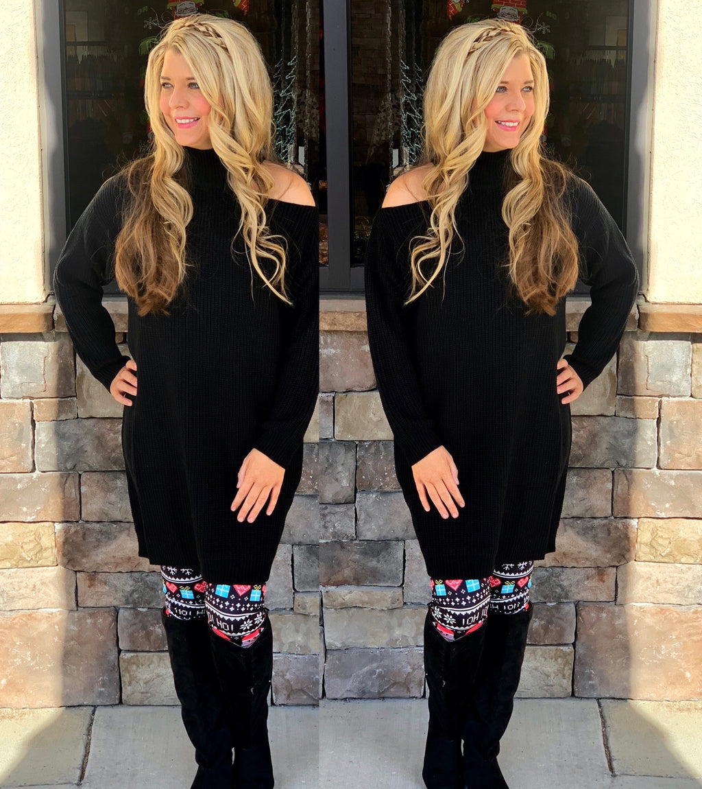 One Shoulder Cutout Sweater Tunic