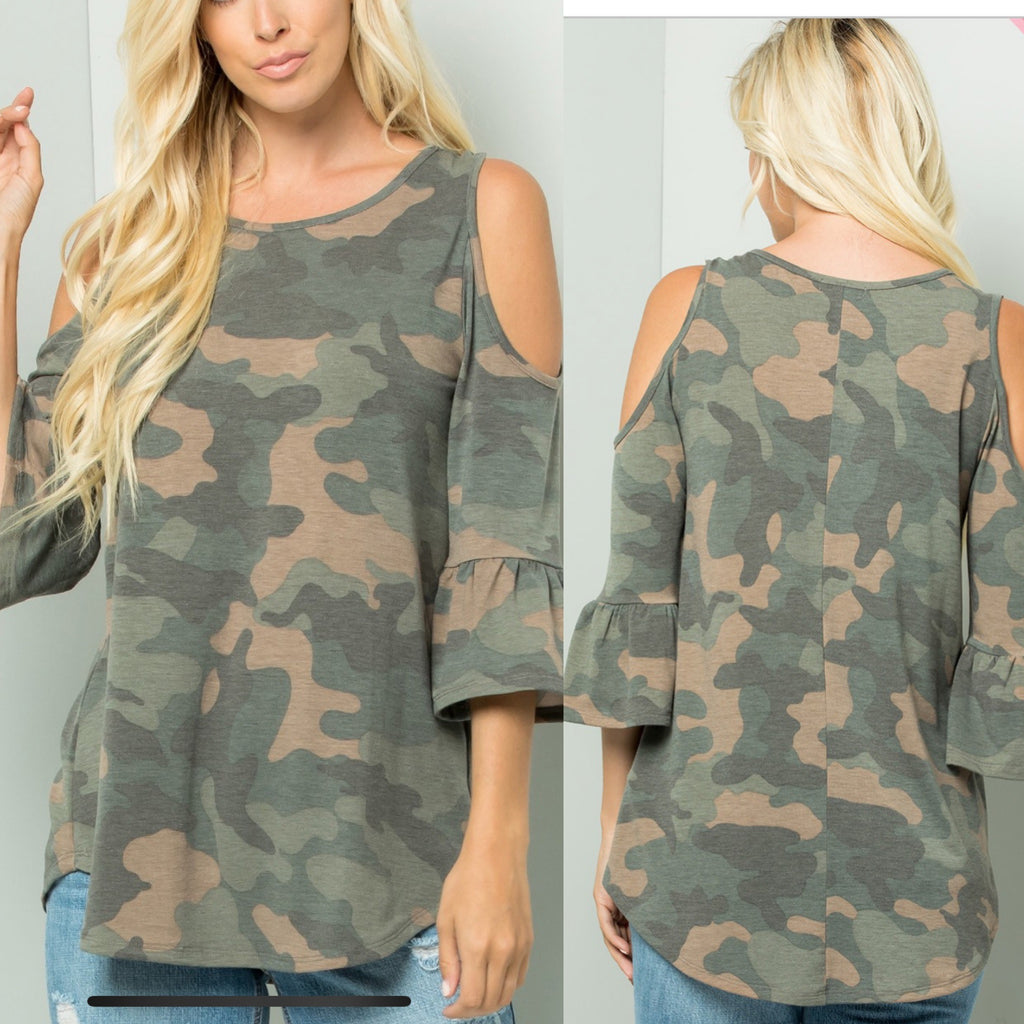 Curvy ~ Cold Shoulder Camo with Ruffle Sleeve