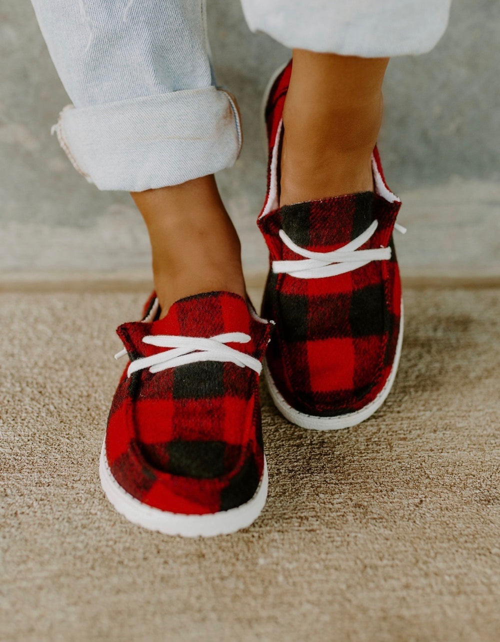 Buffalo Plaid Boat Shoes
