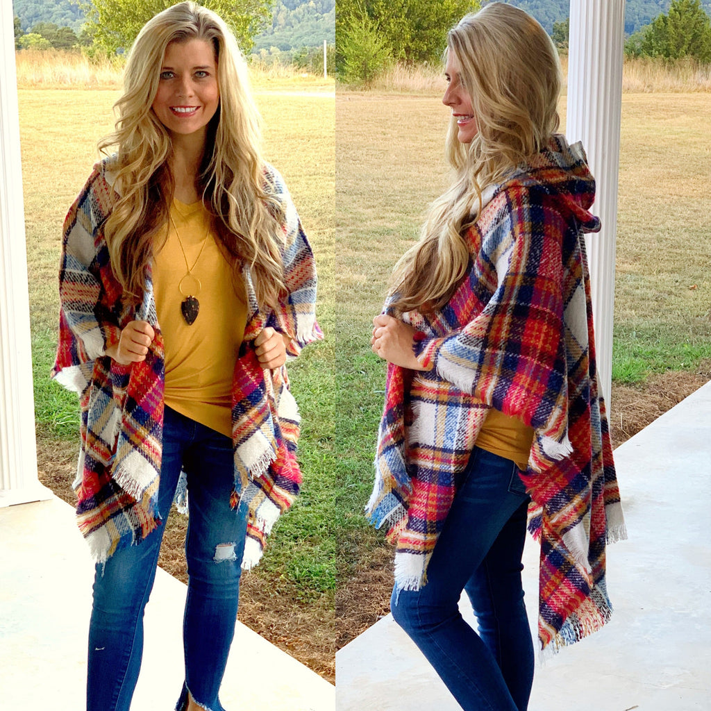 Plaid Hooded Ruana