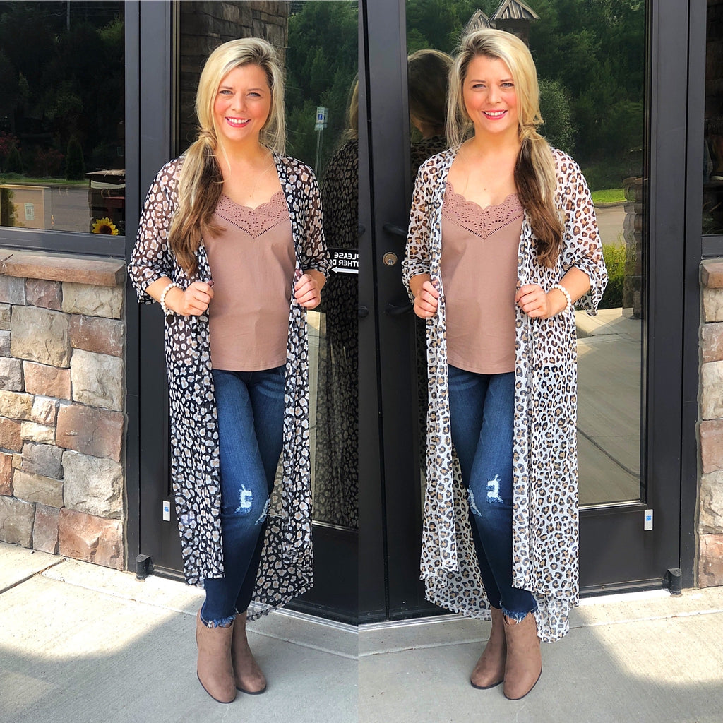 Oddi Animal Print Mesh Cardigan