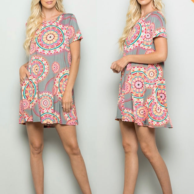 Curvy ~ Medallion Print Dress