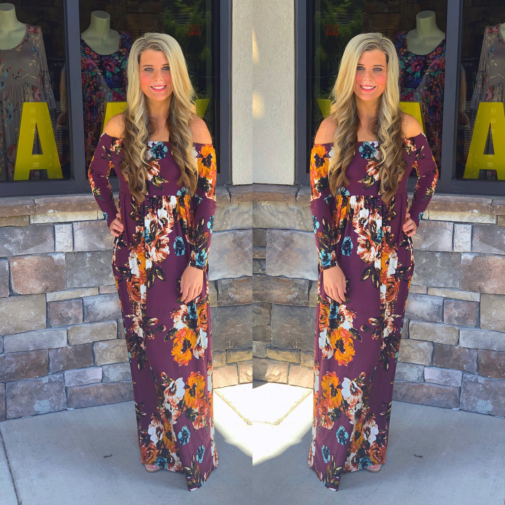 Off The Shoulder Floral Maxi Desss