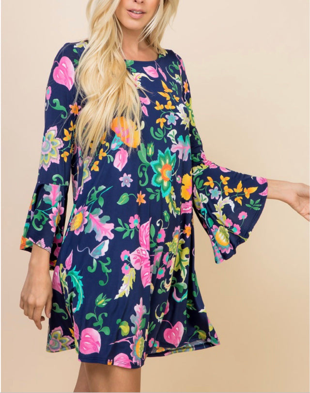 Curvy ~ Bell Sleeve Floral Dress