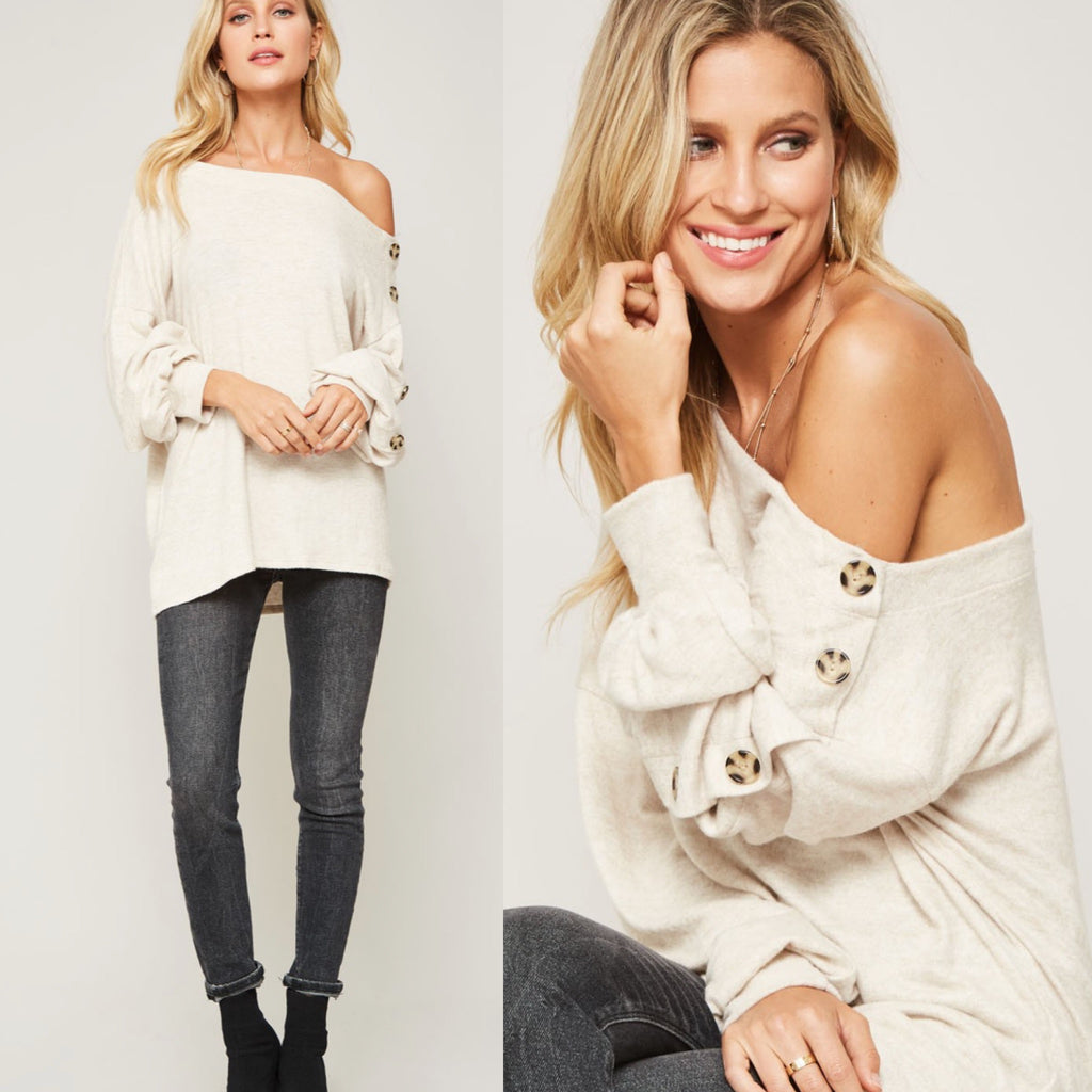 One-Shoulder Button-Trimmed Knit Sweater
