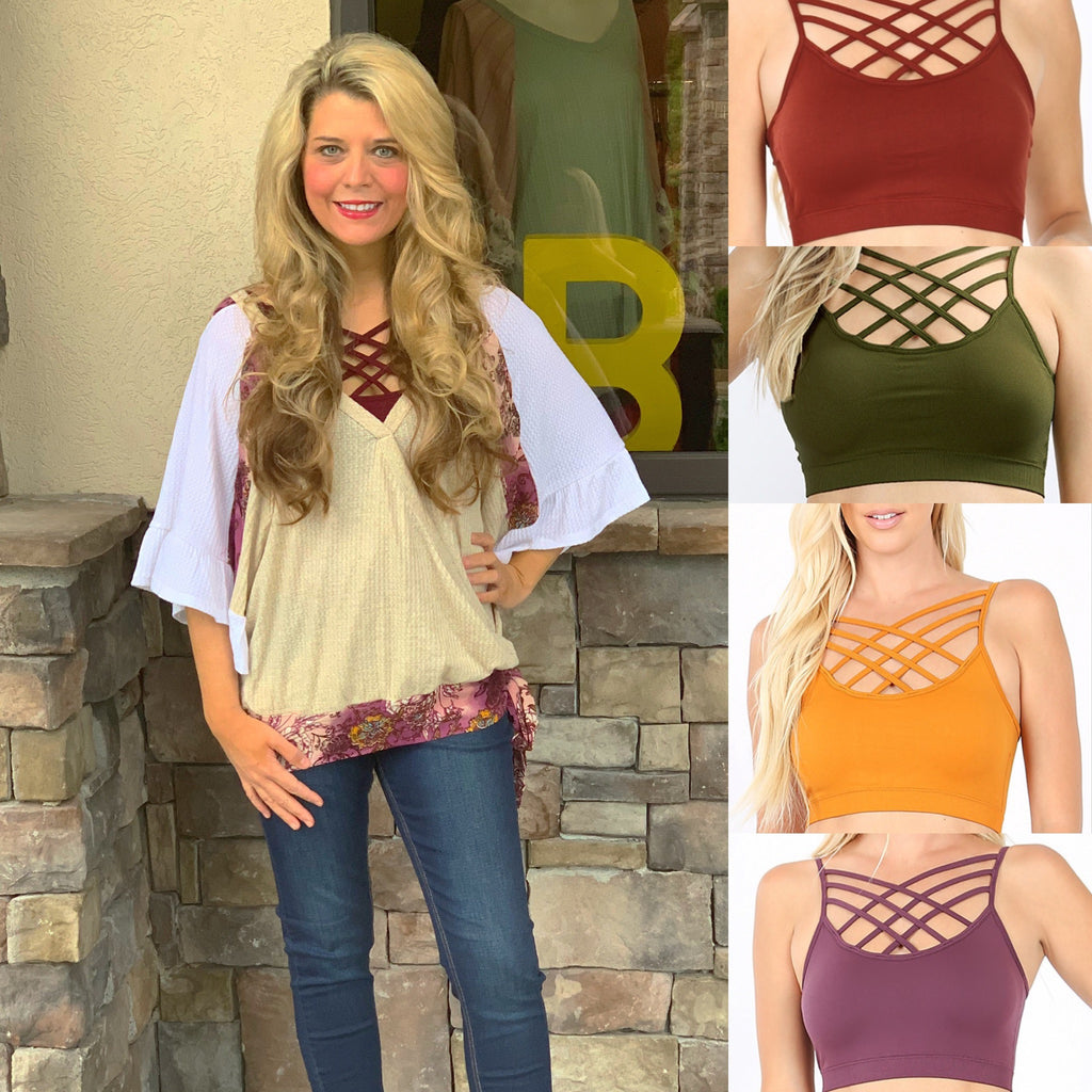 Fall Color Criss Cross Bralettes
