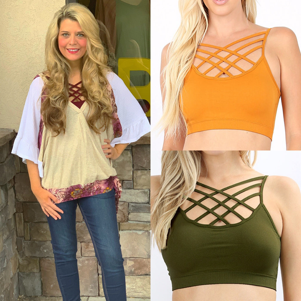 Curvy ~ Fall Color Criss Cross Bralettes