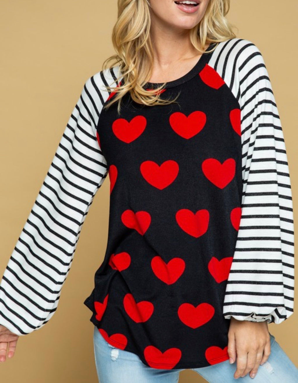 Heart Top with Striped Sleeves