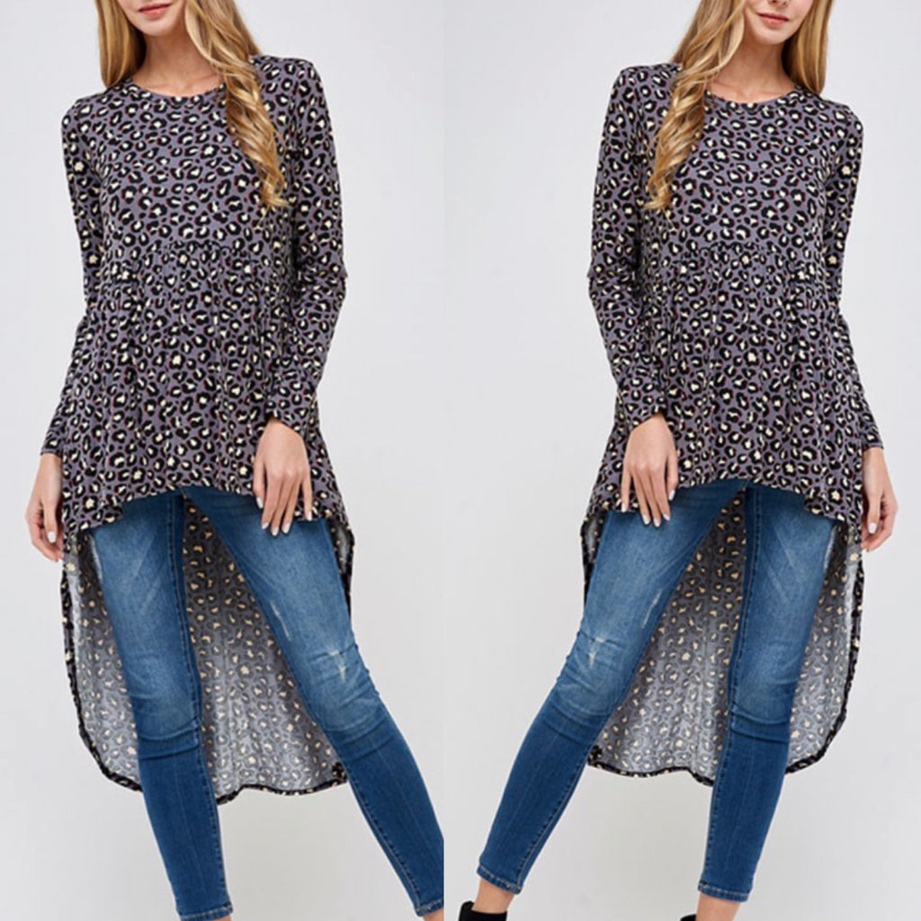 Animal Print High Low Tunic