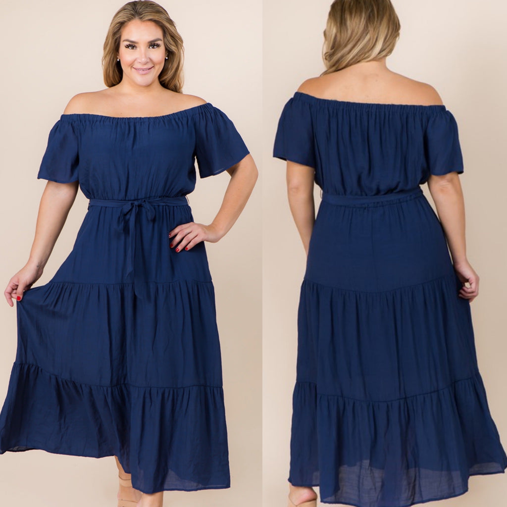 Curvy ~ Off the Shoulder Navy Dress