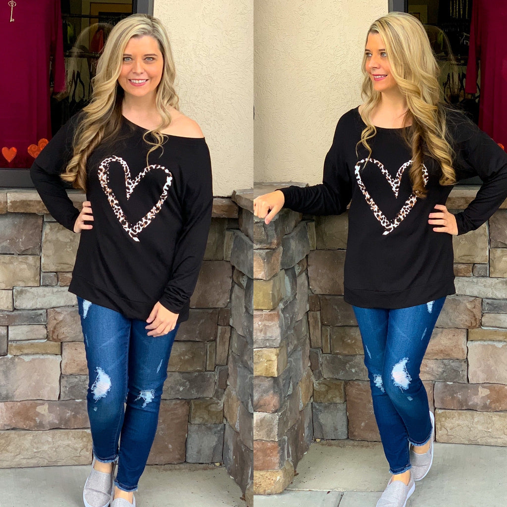 Cheetah Heart Print Top