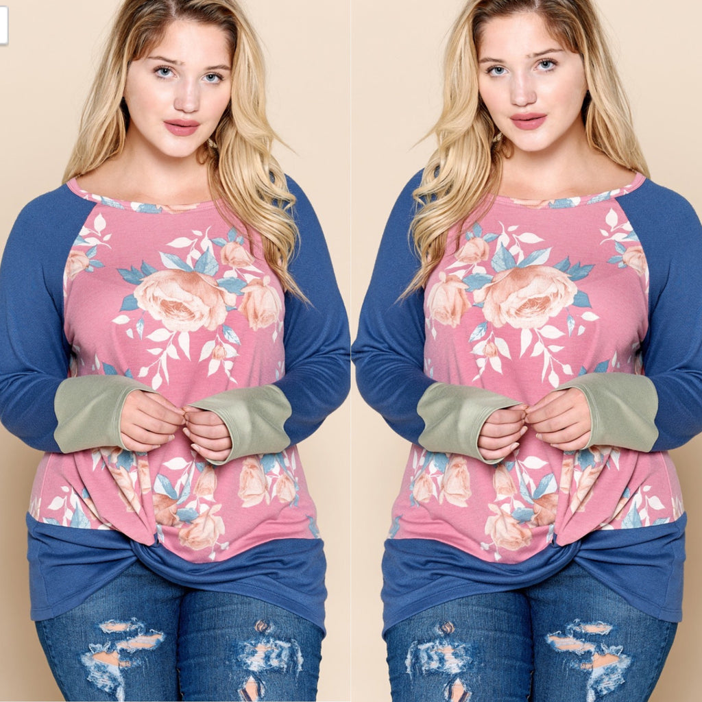 Curvy ~ Floral Multi-Color French Terry Top