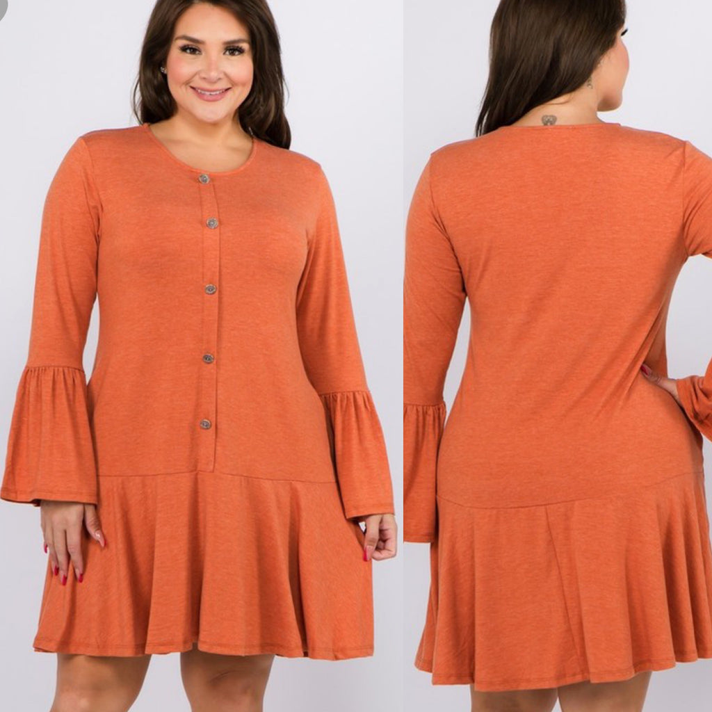 Curvy ~ Copper Front Button Dress