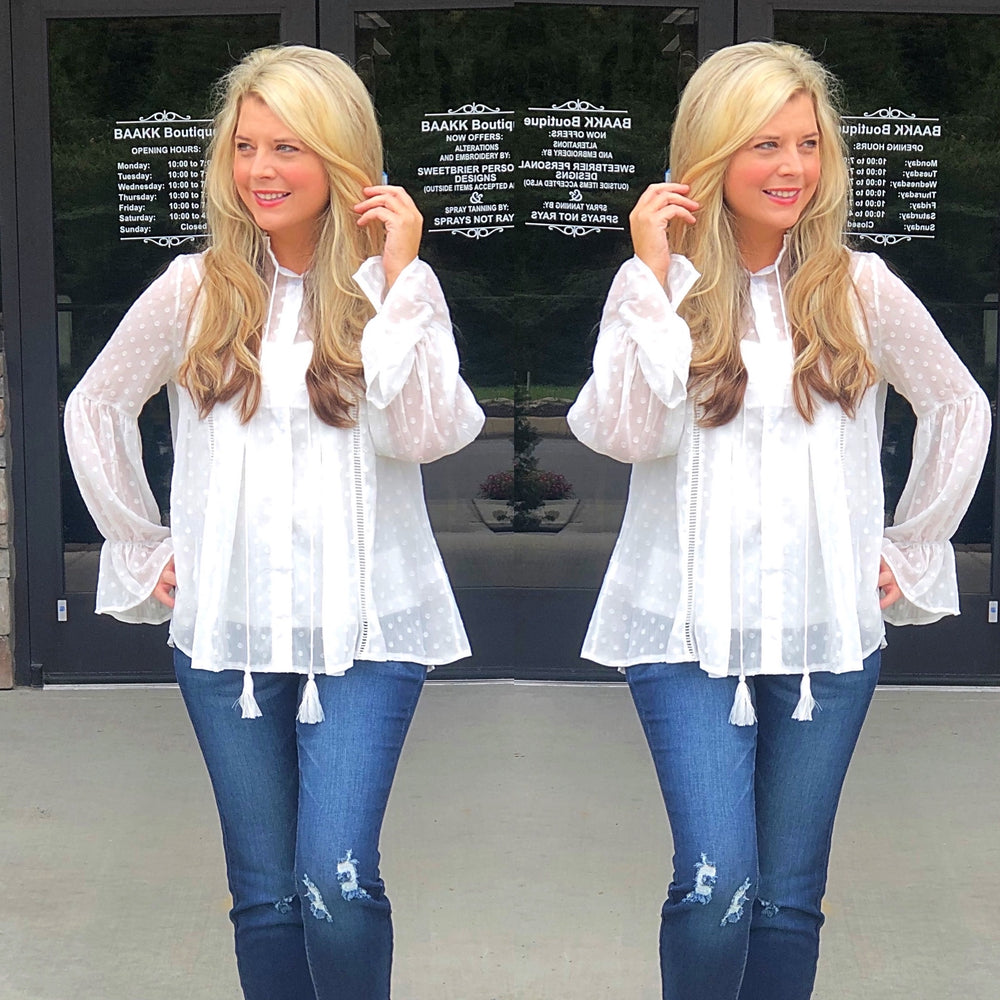 Ruffle Eyelet Button Down with Cami