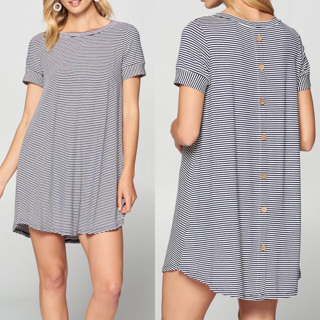 Striped Dress with Button Back Detail