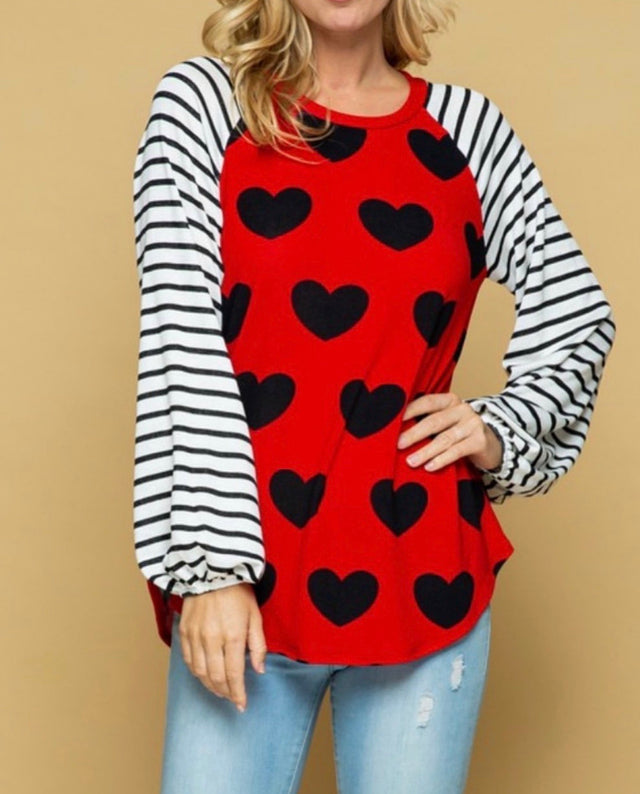 Curvy ~ Heart Top with Striped Sleeves