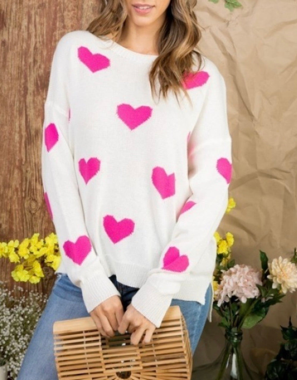 Curvy ~ Pink Heart Sweater