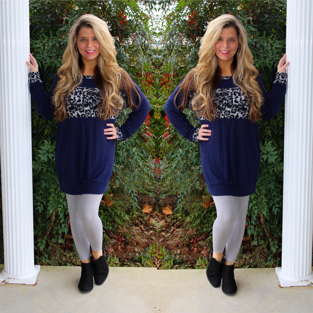 Leopard Navy Soft Tunic