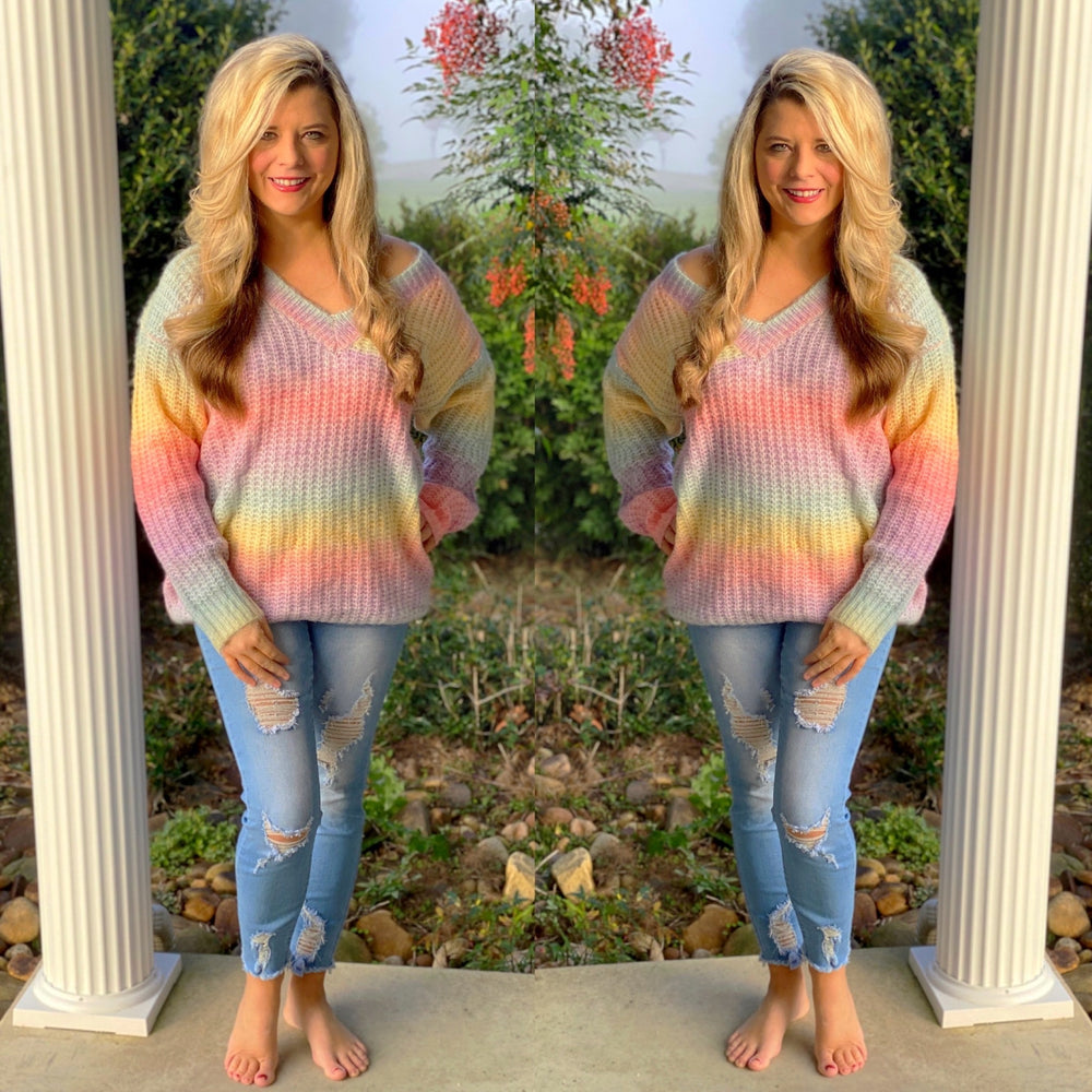 V-Neck Thick Tie Dye Sweater
