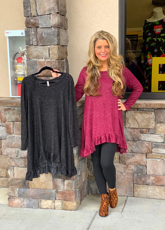 Brushed Sweater Ruffle Tunic