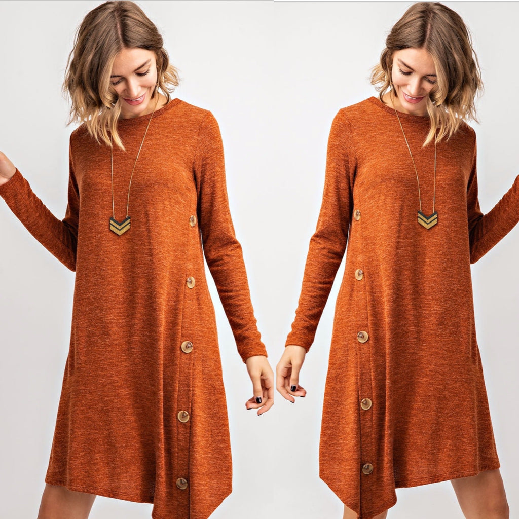 Sweater Dress with Button Details