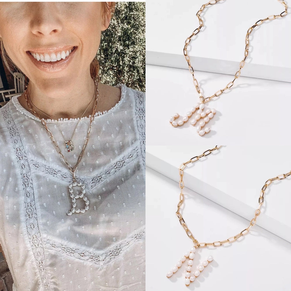 Pearl Initial Necklaces