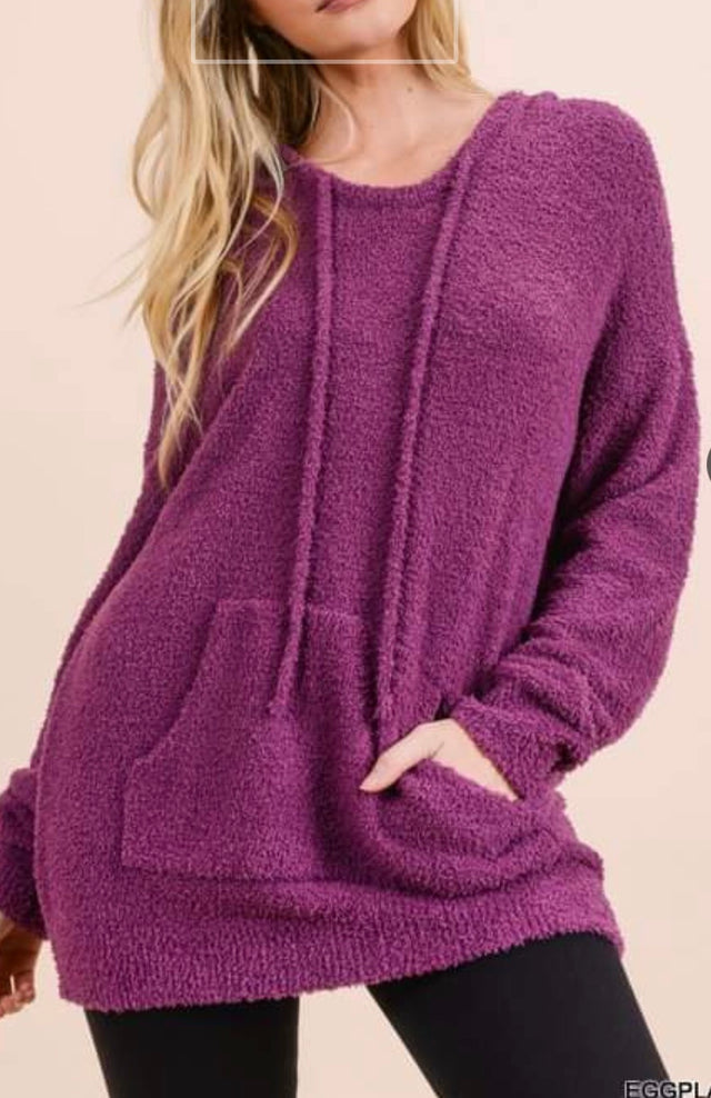 Curvy - Fuzzy Hooded Top
