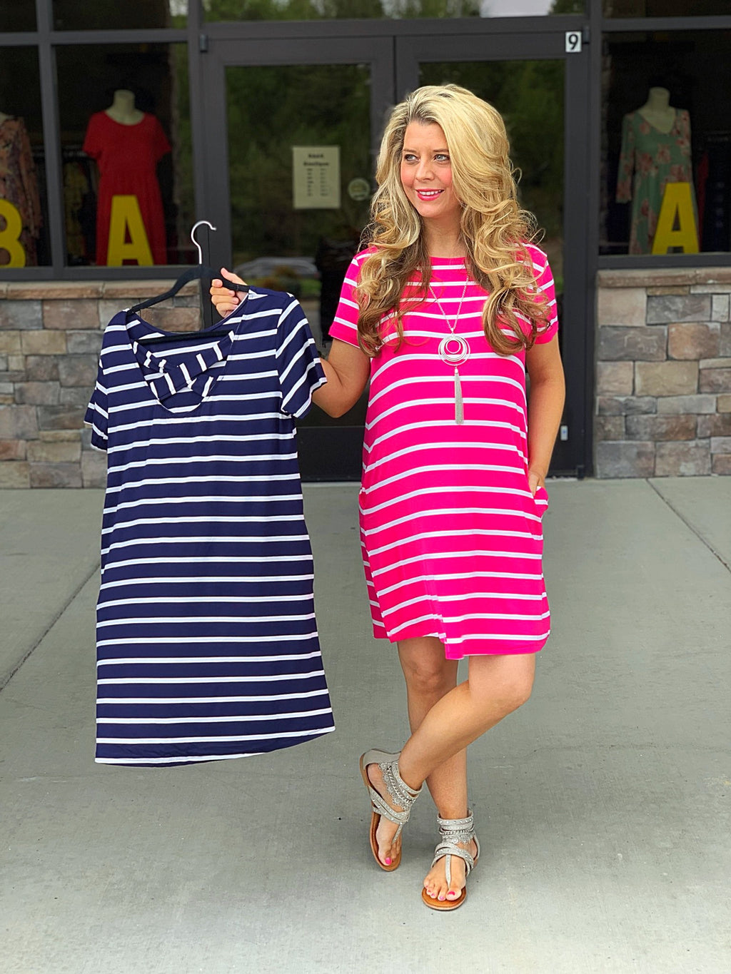 Striped Dress with Criss Cross Back Detail