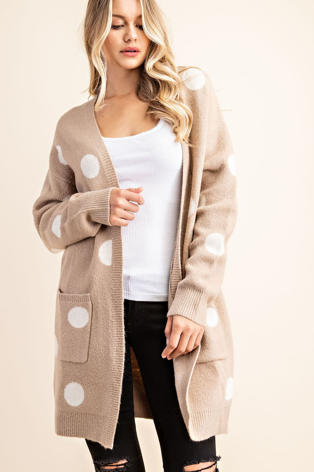 Polka Dot Sweater Cardigan