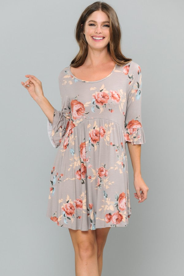 Floral Print Dress with Ruffle Sleeve