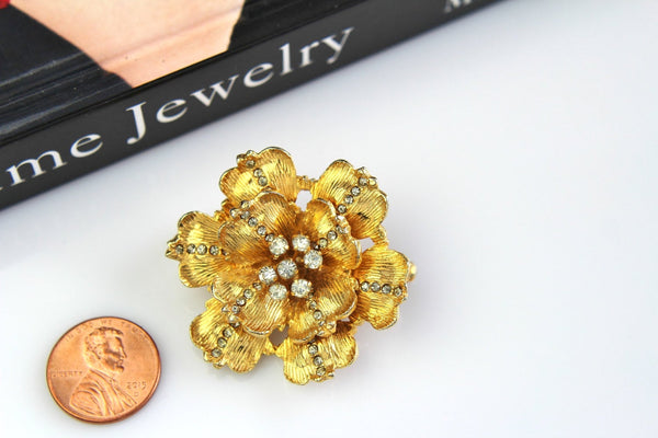 Vintage Signed De Nicola  Flower/ Clear  rhinestones  Brooch/Pin # 601