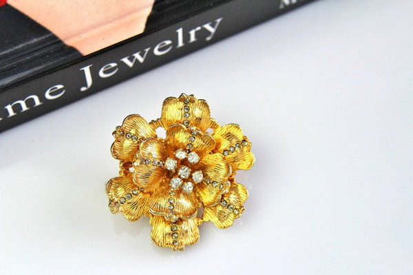Vintage Signed De Nicola  Flower/ Clear  rhinestones  Brooch/Pin # 601, De Nicola, Brooch - Jewelrin