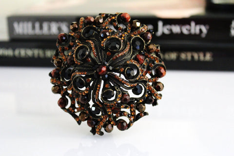 COUTURE Dark Topaz/Black BARRERA Swarovski CRYSTAL brooch #642, Barrera- Jewelrin