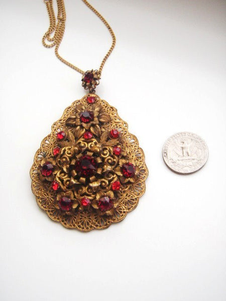 Victorian Flower Pendant Faceted Ruby Rhinestones Goldtone Filigree, Unsigned, Pendant - Jewelrin